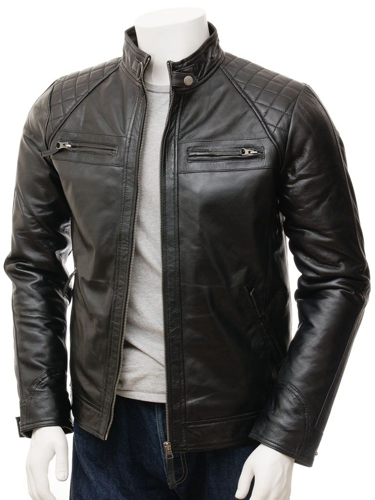 Men's Black Quilted Shoulder Biker Leather Jacket: Rawene