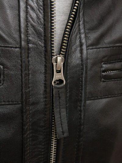 Mens Black Biker Leather Jacket - Zip - Rawene