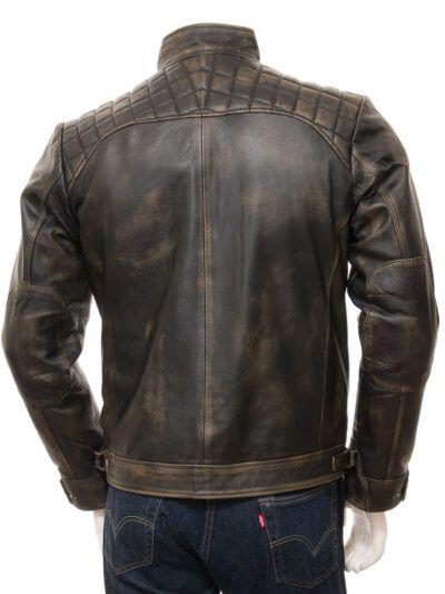Mens Brown Vintage Biker Leather Jacket - Back - Waima