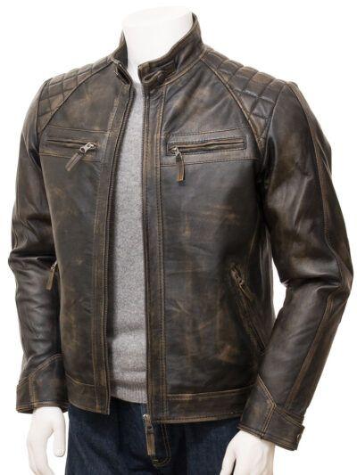 Mens Brown Vintage Biker Leather Jacket - Front - Waima