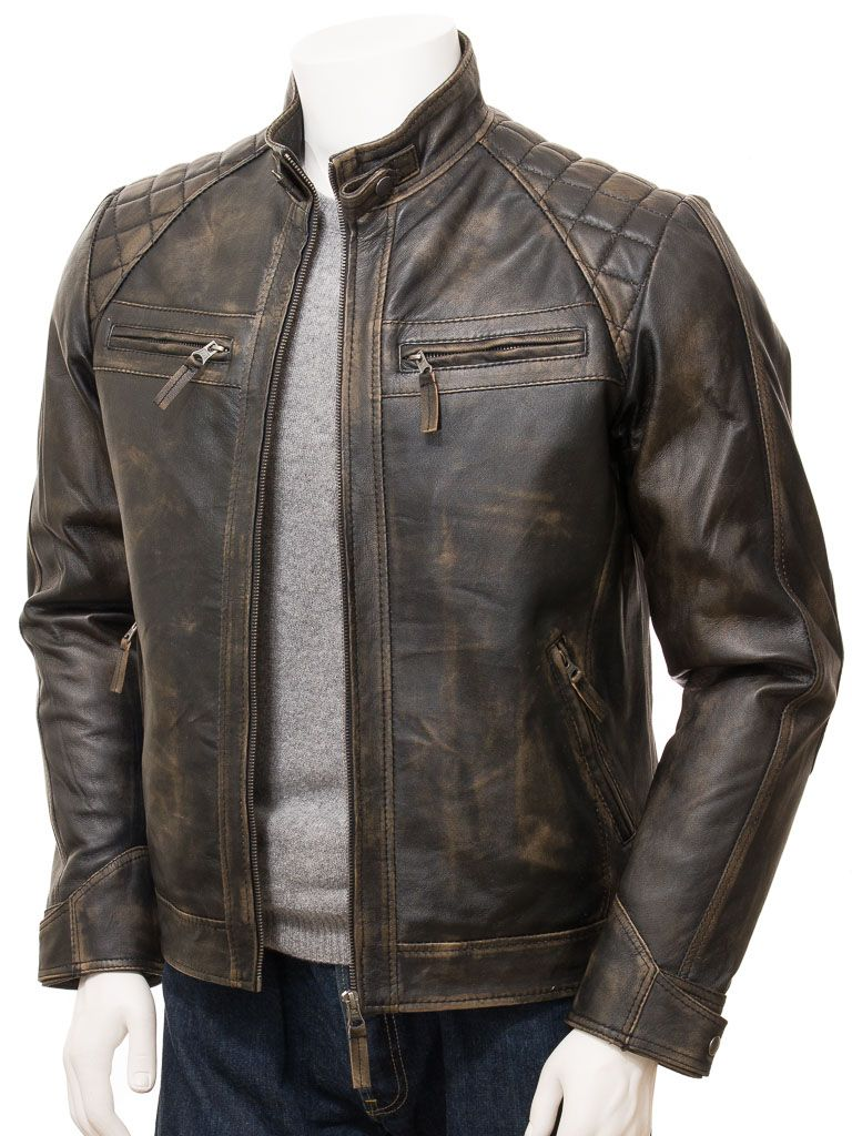 Men's Brown Vintage Biker Leather Jacket: Waima