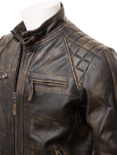 Mens Brown Vintage Biker Leather Jacket - Shoulders - Waima