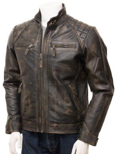 Mens Brown Vintage Biker Leather Jacket - Waima