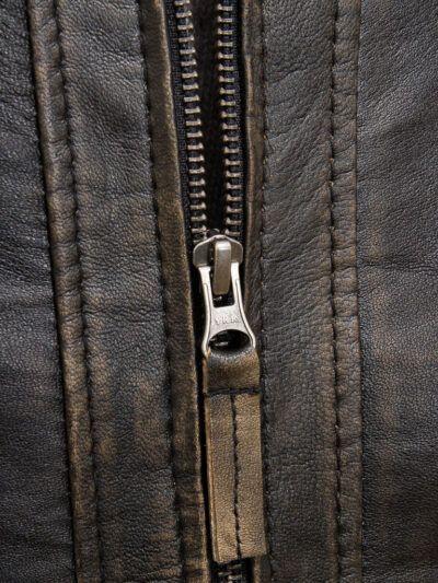 Mens Brown Vintage Biker Leather Jacket - Zip - Waima