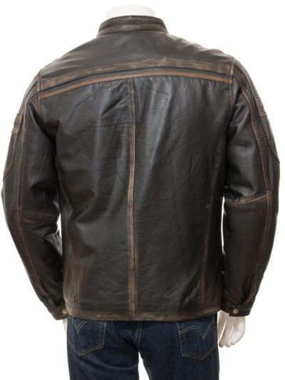 Mens Vintage Black Leather Biker Jacket - Back - Karetu