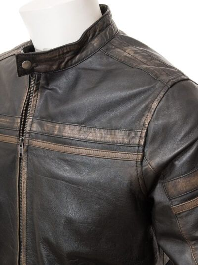 Mens Vintage Black Leather Biker Jacket - Front - Karetu