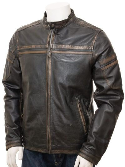 Mens Vintage Black Leather Biker Jacket - Karetu