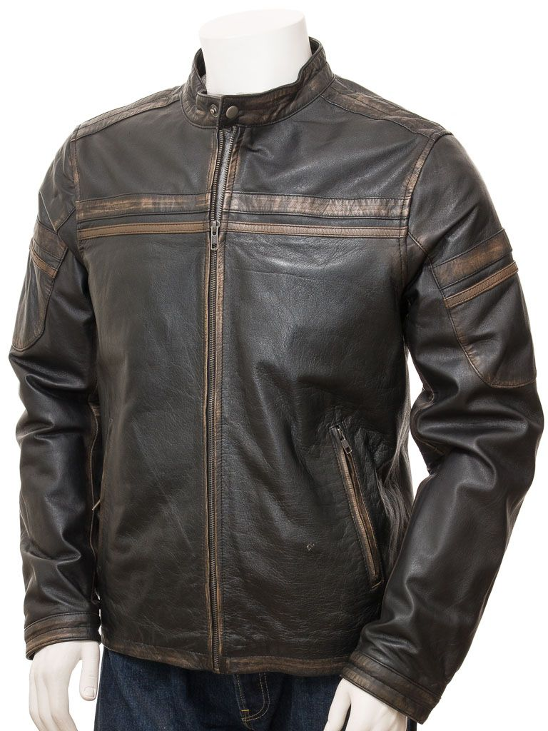 Men's Vintage Black Leather Biker Jacket: Karetu