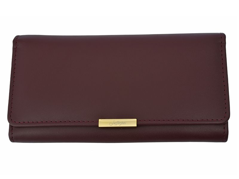 Long Fold Leather Purse Burgundy