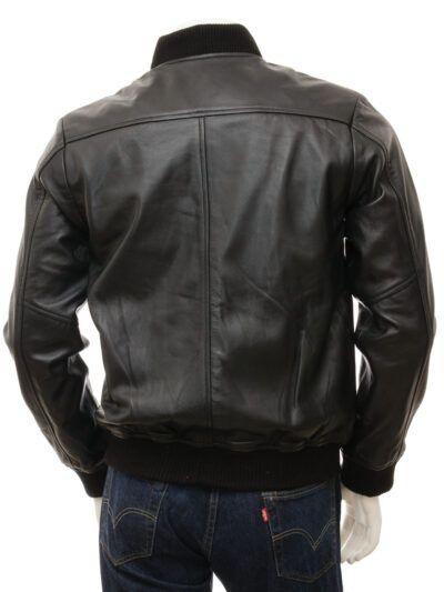 Mens Black Leather Bomber Jacket - Back - Stirling
