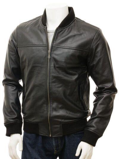 Mens Black Leather Bomber Jacket - Front Close - Stirling