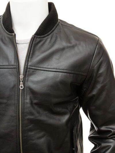 Mens Black Leather Bomber Jacket - Front Side - Stirling
