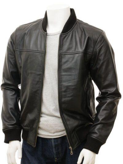 Mens Black Leather Bomber Jacket - Stirling