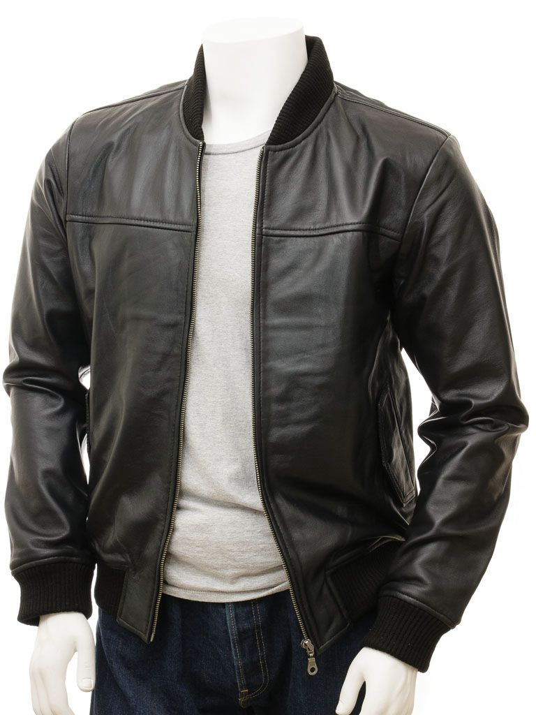 Mens Black Leather Bomber Jacket - Stirling