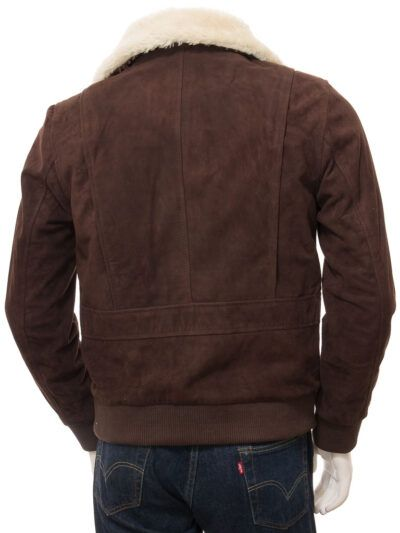 Mens Brown Suede Bomber Leather Jackets - Back - Sefton