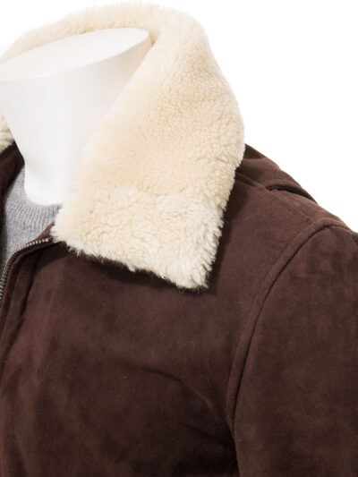Mens Brown Suede Bomber Leather Jackets - Collar - Sefton