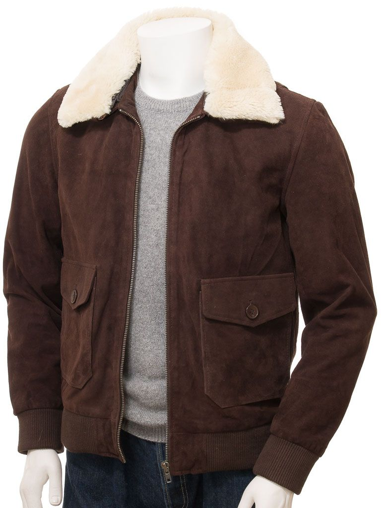 Mens Brown Suede Bomber Leather Jackets - Front Open - Sefton
