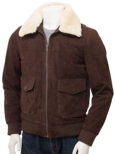 Mens Brown Suede Bomber Leather Jackets - Front - Sefton