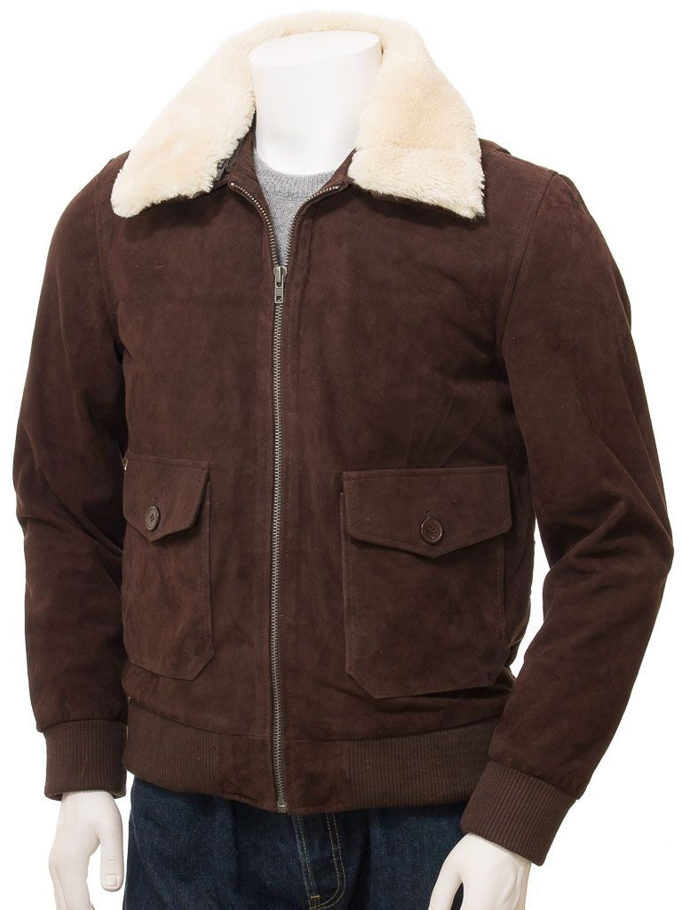 Men's Brown Suede Bomber Leather Jackets: Sefton