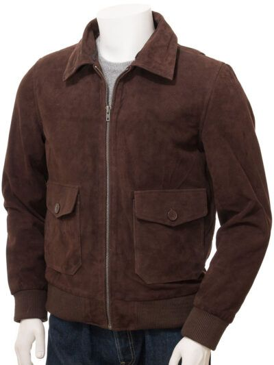 Mens Brown Suede Bomber Leather Jackets - Sefton