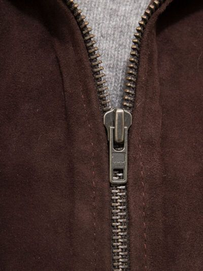 Mens Brown Suede Bomber Leather Jackets - Zip - Sefton