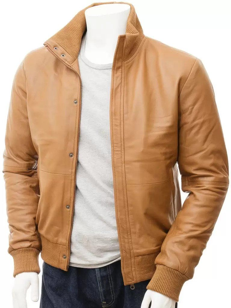 Mens Simple Tan Bomber Leather Jacket
