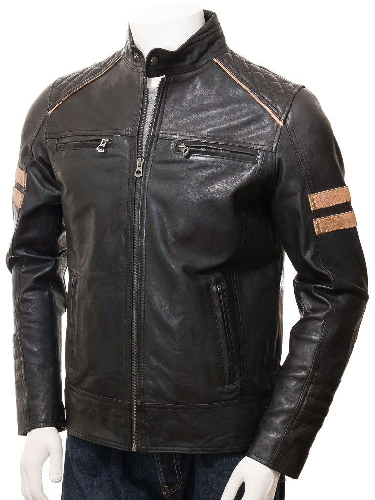 Men's Cafe Racer Style Black Biker Leather Jacket: Pakotai