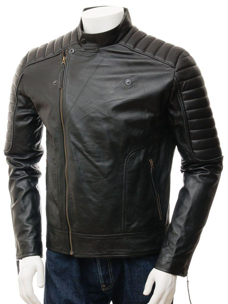 Men's Black Quilted Shoulders Biker Leather Jacket: Kaimata