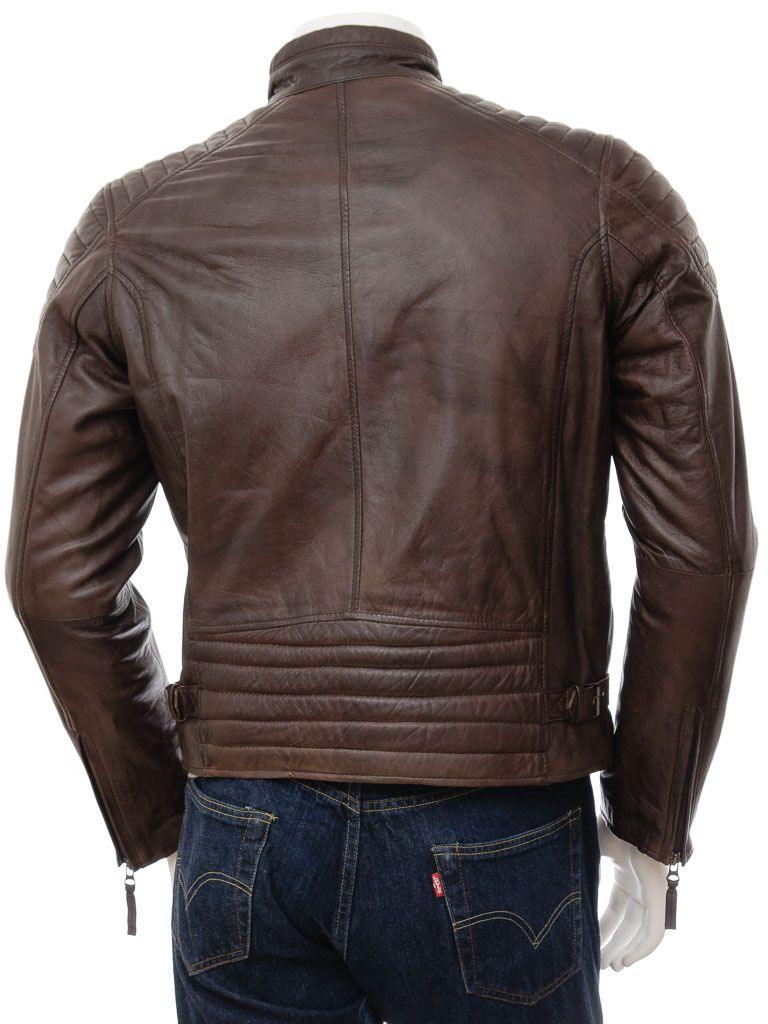 Men's Brown Stand Collar Biker Leather Jacket: Ohoka