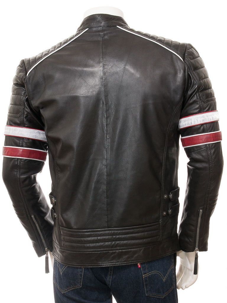 Men's Stand Collar Black Biker Leather Jacket: Linkwater