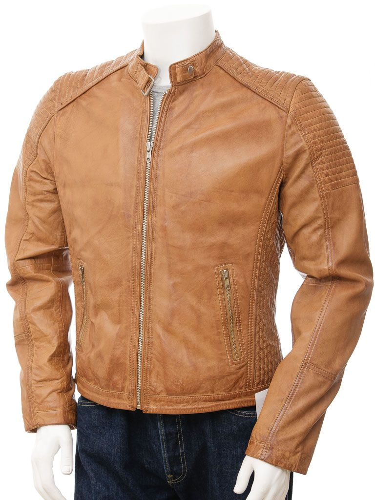 Men's Stand Collar Retro Style Tan Biker Leather Jacket: Riwaka