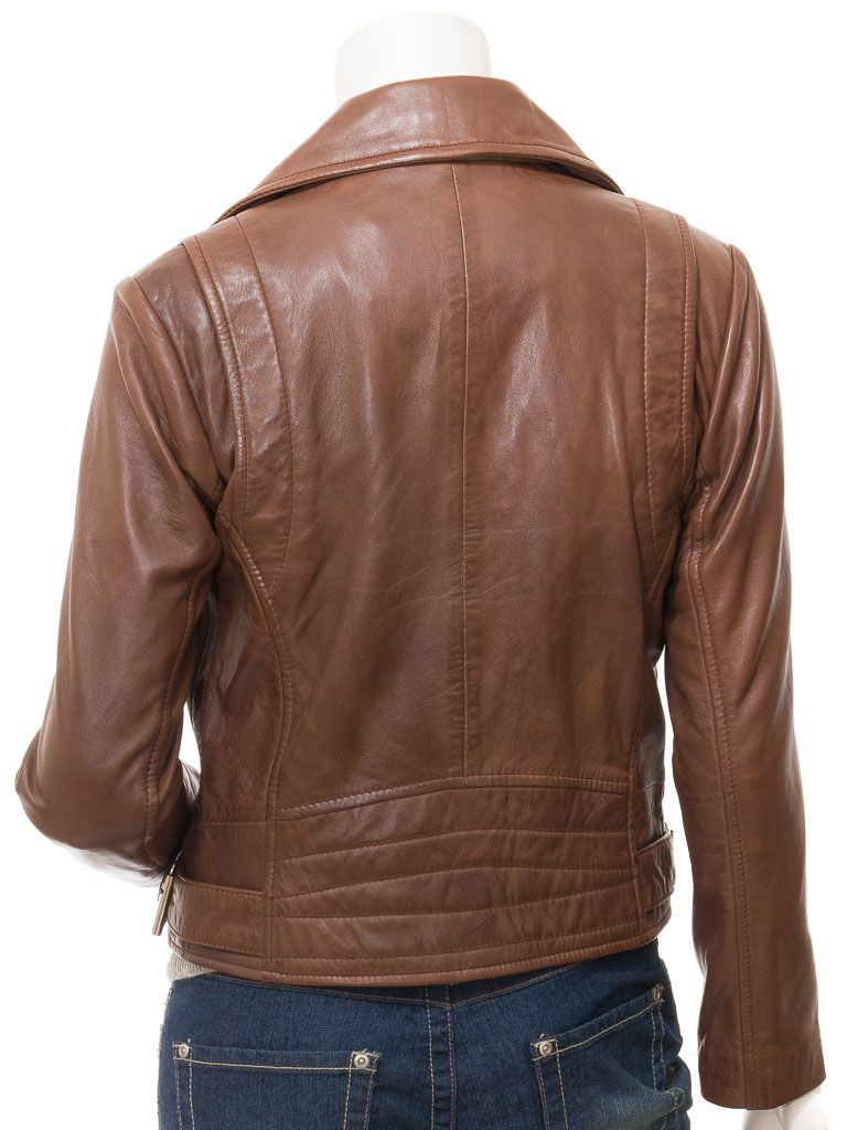Women's Brown Biker Leather Jacket: Foxton