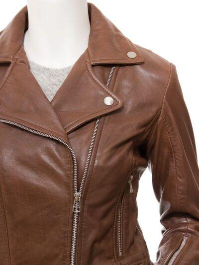Womens Brown Biker Leather Jacket