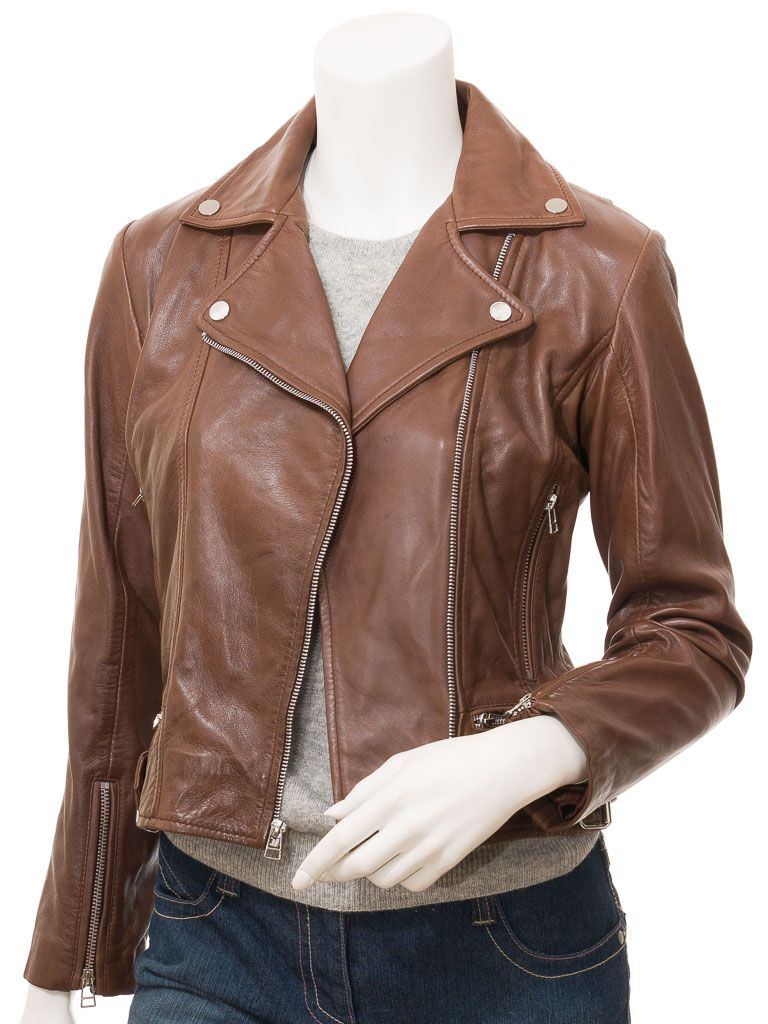 Women's Brown Biker Leather Jacket: Foxton