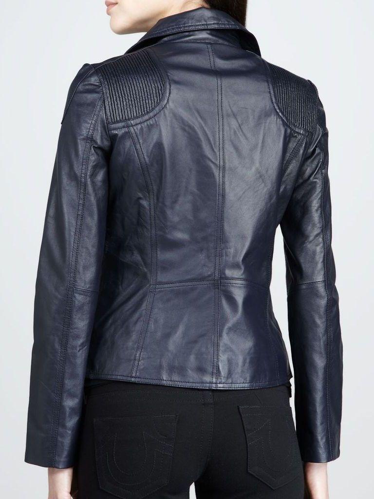 Women's Navy Blue Biker Leather Jacket: Queenstown