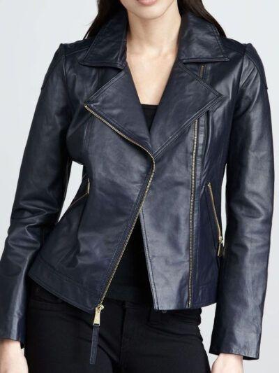 Womens Navy Blue Biker Leather Jacket