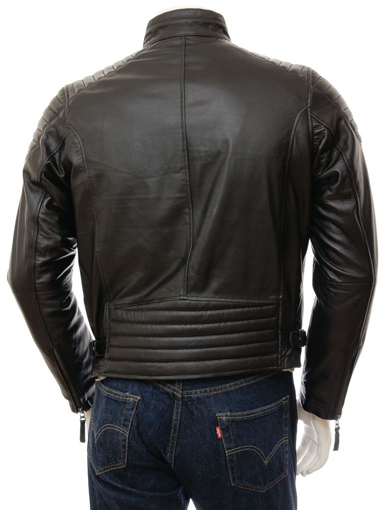 Black Cafe Racer (Biker) Leather Jacket For Men: Petone