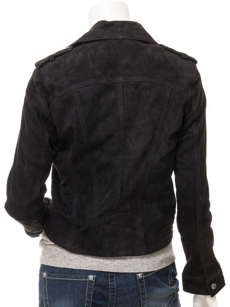 Women's Suede Black Biker Leather Jacket: Timaru