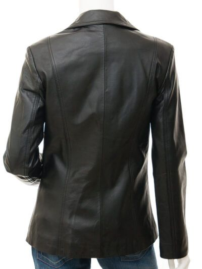 Womens Leather Blazer in Black