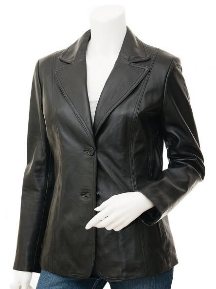 Sheepskin Leather Blazer For Women in Black – Bluff