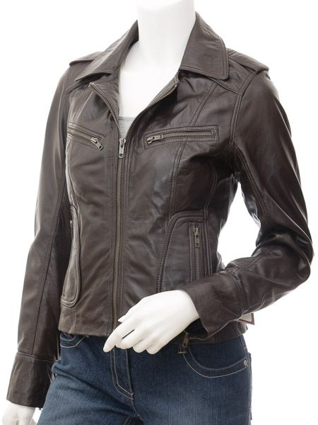 Ladies Chocolate Brown Biker Leather Jacket: Auroa