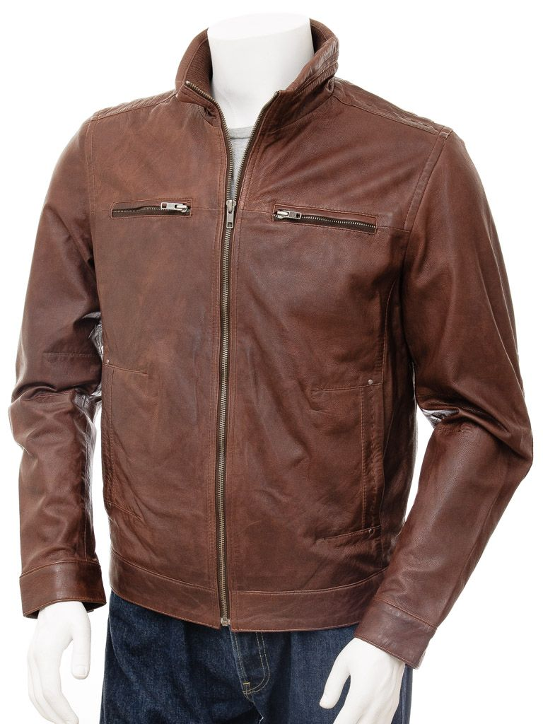 Men's Chocolate Brown Funnel Neck Leather Jacket: Ross