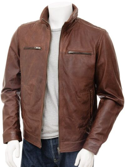 Mens Chocolate Brown Leather Jacket