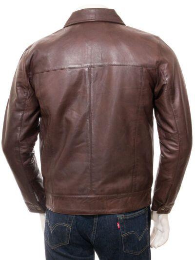Mens Dark Brown Harrington Biker Jacket