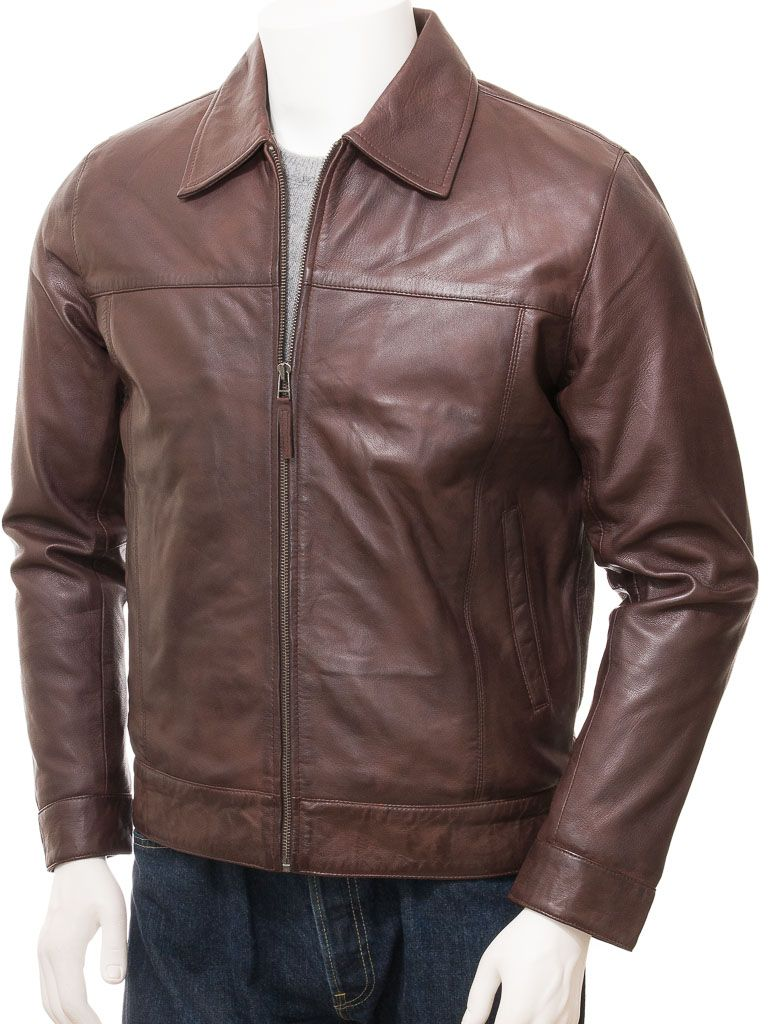 Men's Dark Brown Harrington Biker Jacket: Flaxmere