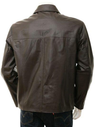 Mens Dark Brown Shirt Collar Biker Leather Jacket