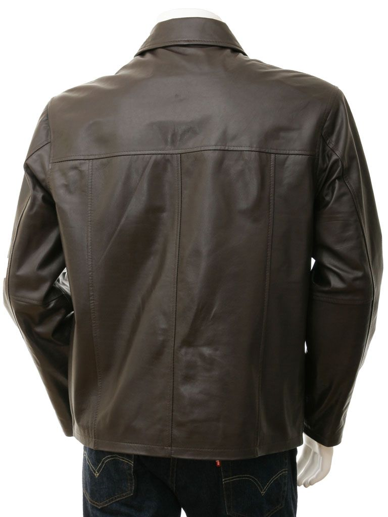 Men's Dark Brown Shirt Collar Biker Leather Jacket: Broadwood