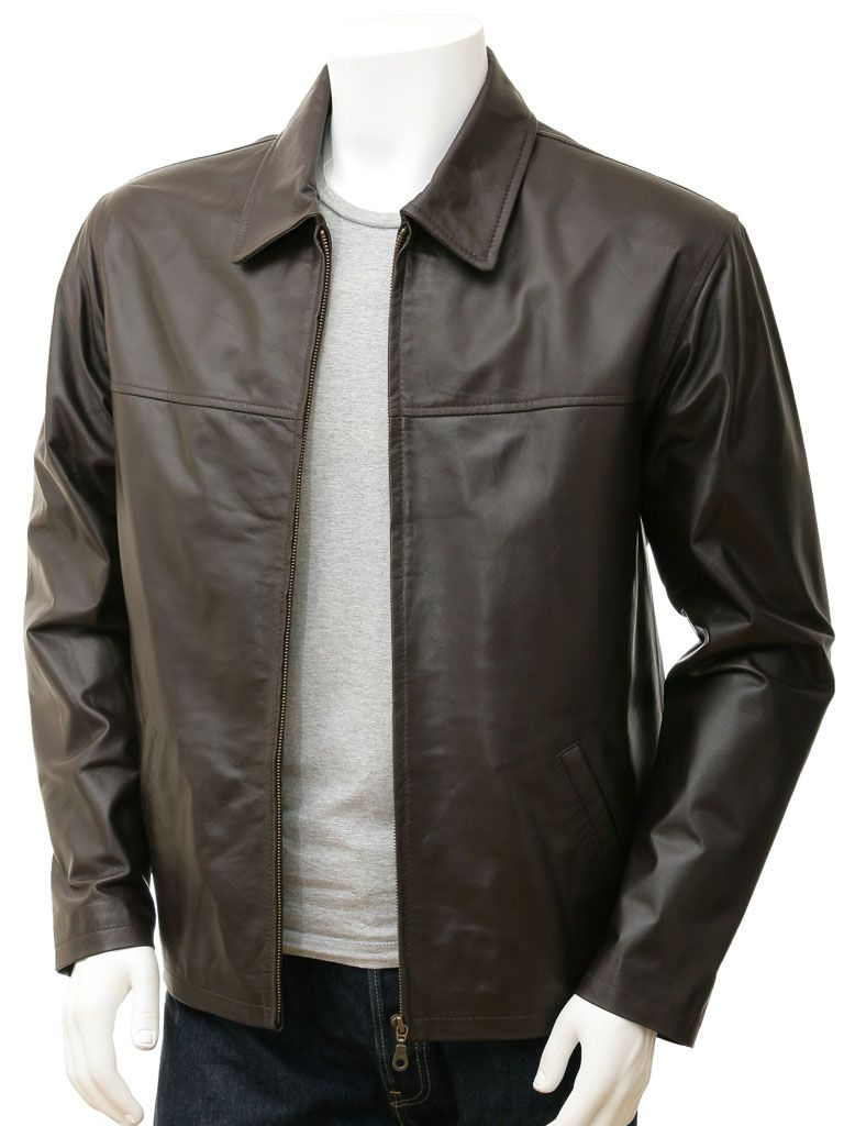 Mens Dark Brown Shirt Collar Biker Leather Jacket
