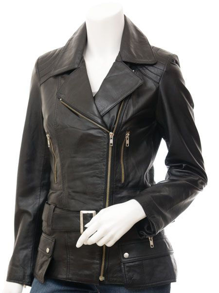 Women's Long Black Biker Leather Jacket: Rakaia