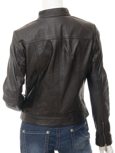 Womens Stand Collar Black Biker Leather Jacket
